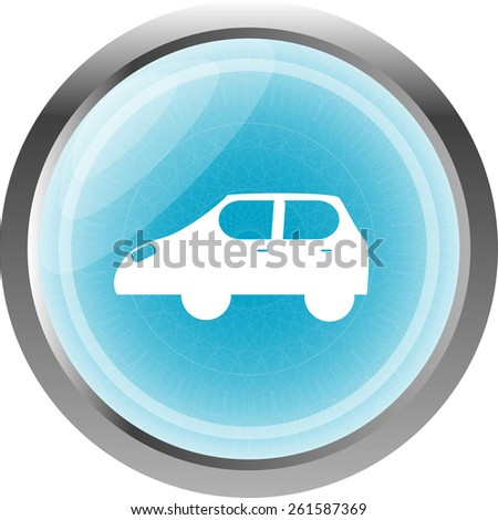 Car icon button design elements isolated on white - stock vector