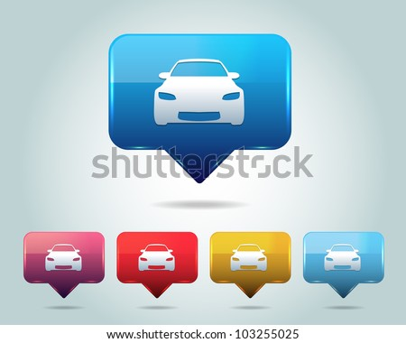 Car Icon Button Vector Design Multicolored - stock vector