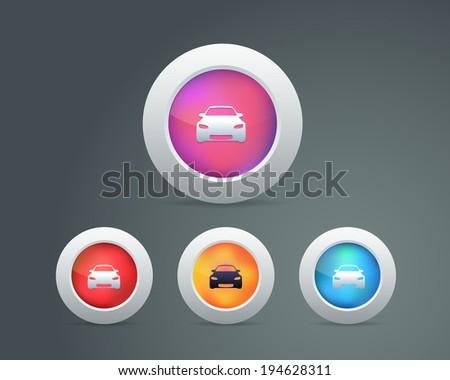 Car Icon Buttons - stock vector