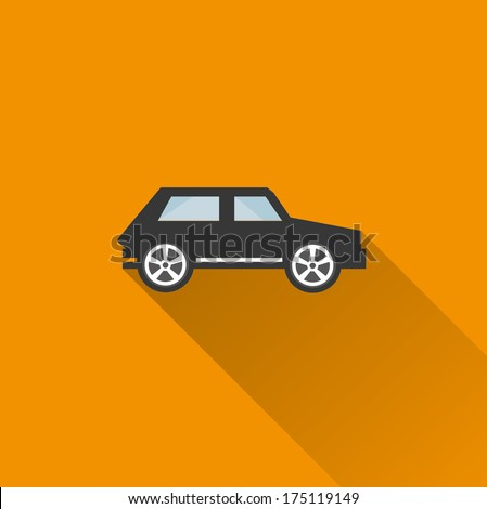 Car icon 3 ( Long Shadow ) - stock vector