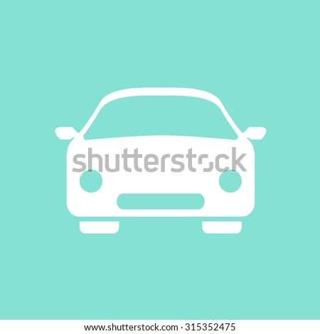 Car  icon  on a green background, flat design. Vector illustration.