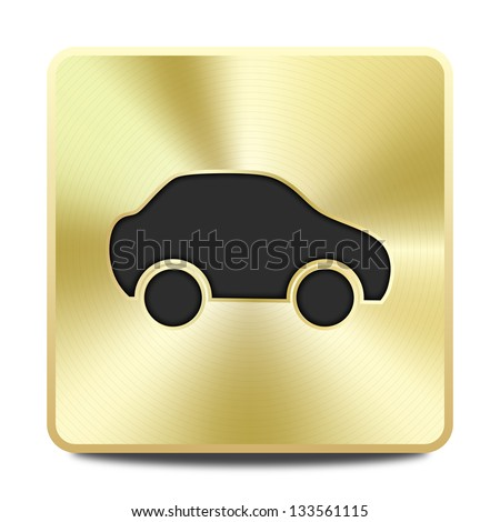 Car icon - round square gold metal button - stock vector