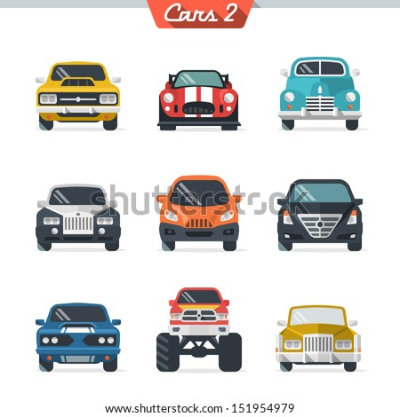 Car icon set 2 - stock vector