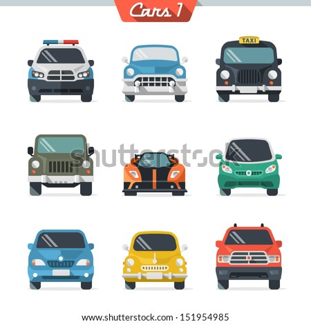 Car icon set 1 - stock vector