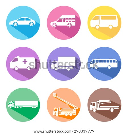 car icon set with long shadow - stock vector