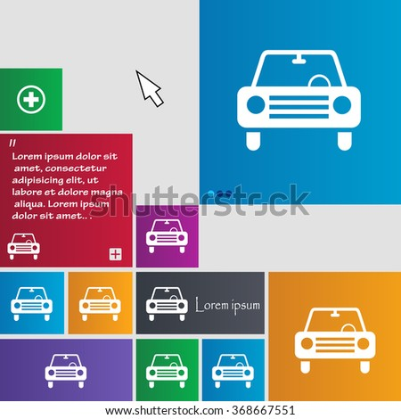 car icon sign. buttons. Modern interface website buttons with cursor pointer. Vector illustration - stock vector
