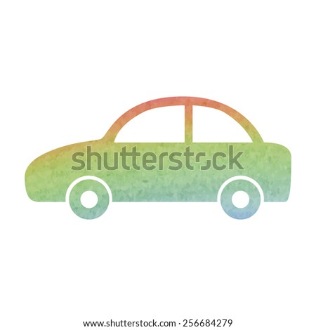 Car icon. Vector. Watercolor effect
