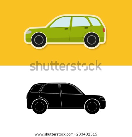 Car icon with shadow and car silhouette isolated on white
