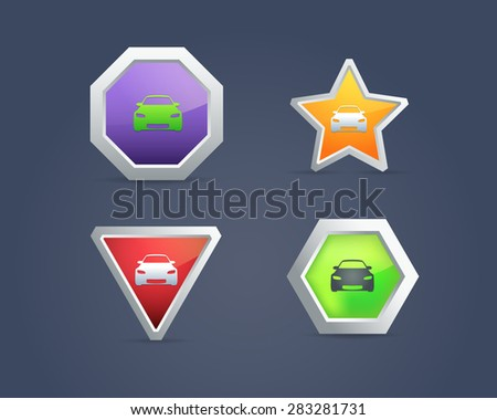 Car Icons Buttons - stock vector