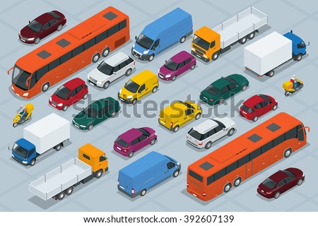 Car icons. Flat 3d isometric high quality city transport car icon set. Car, van, cargo truck,  off-road, bus, scooter, motorbike, riders. Transport set. Set of urban public and freight transport - stock vector