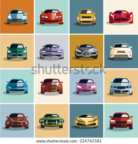 Car icons. Flat style car icon. - stock vector