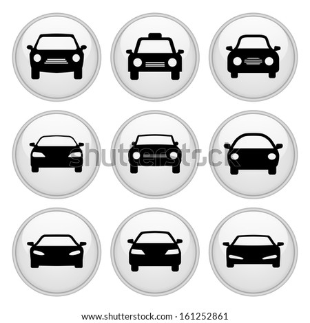 Car Icons Glossy White Button Icon Set - stock vector