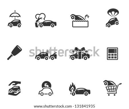 Car icons in single color - stock vector