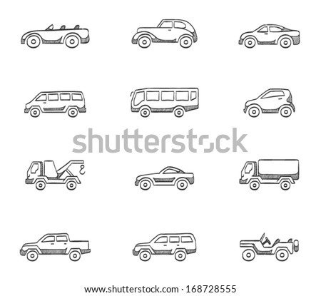 Car icons in sketches - stock vector