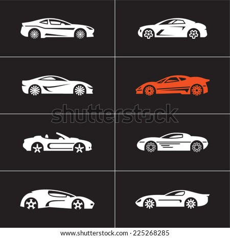 Car icons on black background. Car side view. Sports cars. - stock vector