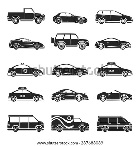 Car icons set. Hatchback and jeep, lorry and trailer, minibus and cabriolet, truck and bus, pickup and sedan. Vector illustration