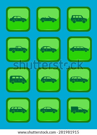 Car icons set on a green button, vector illustration - stock vector