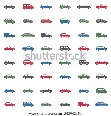 Car icons set. Twelve car forms different colors - stock vector