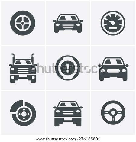 Car Icons Set, Vector Design - stock vector
