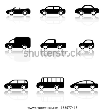 Car icons set (Vector illustration) - stock vector