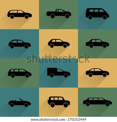 Car icons set, vector illustration - stock vector