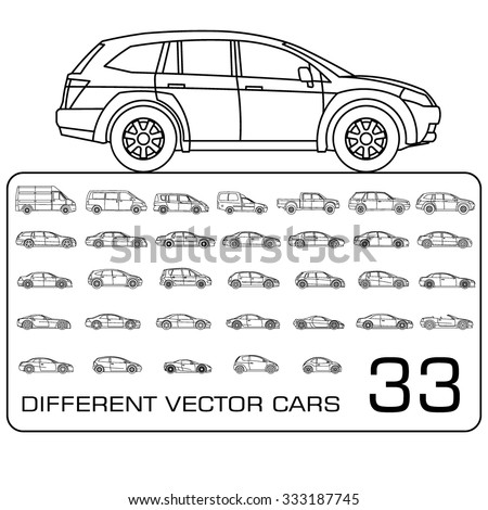 Car icons thin line set - stock vector