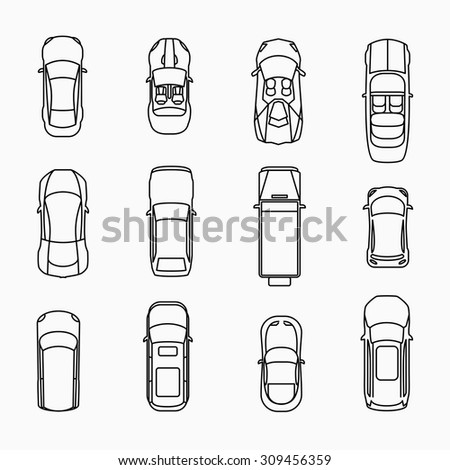 Car icons top view set. Automobile and vehicle, vector illuistration - stock vector