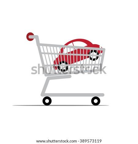 Car in a shopping cart. - stock vector