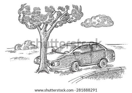 Car in an accident - stock vector
