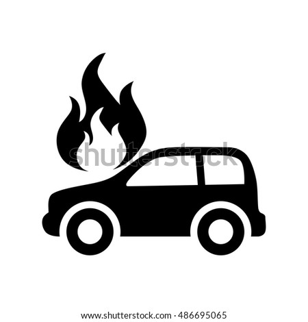 Car in fire icon illustration isolated vector sign symbol