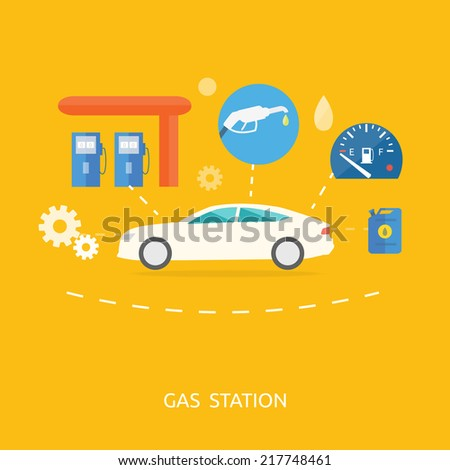 Car in gas station. Fuel petrol dispenser pump handles and pillars. Fueling in flat design style - stock vector