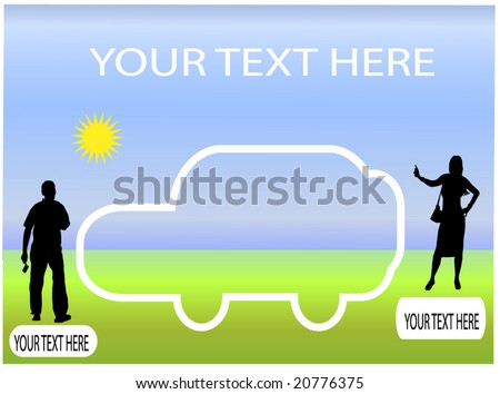 car in landscape with people silhouettes - stock vector