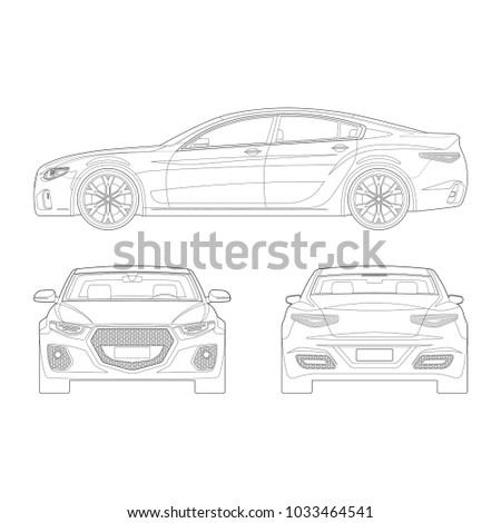 Car Outlines Front Side Rear View Stock Vector (2018) 1033464541 ...