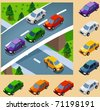 Car in the city. vector vehicle set isometric series - stock vector