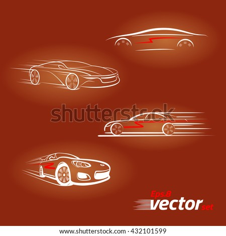 Car in the form of lines of silhouette, in movement. Light on a dark background .Set.eps 8 - stock vector