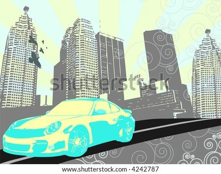 car in vector city - stock vector