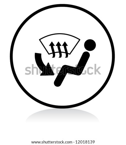 car inside vent button symbol - b/w version - stock vector