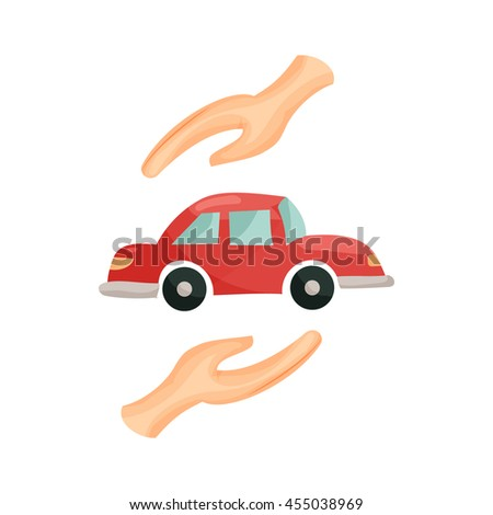 Car insurance concept, car protected by hands icon in cartoon style isolated on white background - stock vector