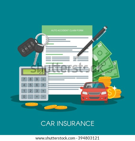 Car insurance form concept vector illustration. Auto keys, car, calculator and money. - stock vector