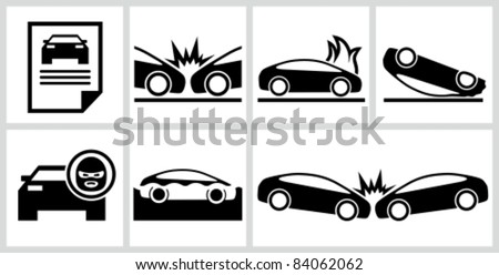 Car insurance icons set. All white areas are cut away from icons and black areas merged. - stock vector
