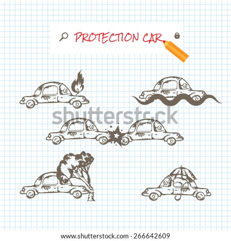 Car insurance icons set. Protection car illustration in doodle style. All object on a separate layers. Cartoon cars. Different situations of car crash. Car insurance. Eps 8 - stock vector