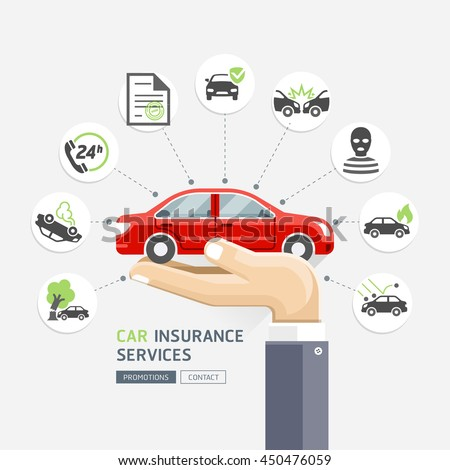 Car insurance services. Business hands holding red car. Vector Illustrations. - stock vector
