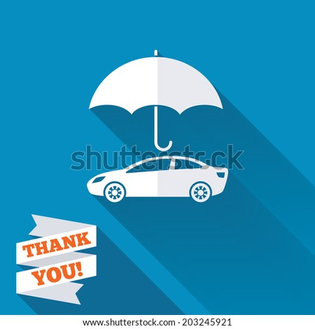 Car insurance sign icon. Protection symbol. White flat icon with long shadow. Paper ribbon label with Thank you text. Vector - stock vector