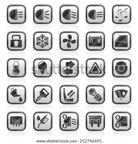 Car interface sign and icons - vector icon set - stock vector