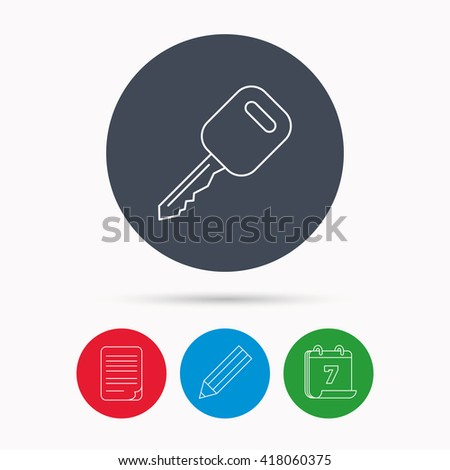 Car key icon. Transportat lock sign. Calendar, pencil or edit and document file signs. Vector - stock vector