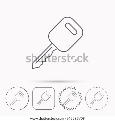 Car key icon. Transportat lock sign. Linear circle, square and star buttons with icons. - stock vector