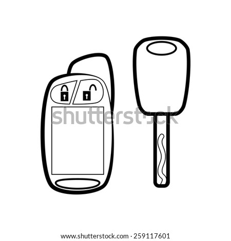 Car key with remote - stock vector