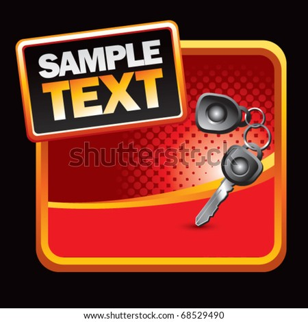 car keys red halftone stylized ad - stock vector