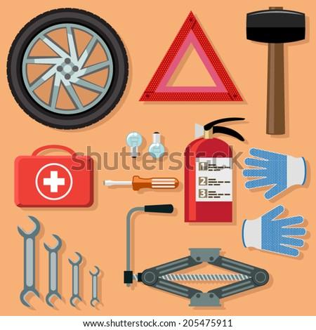 Car kit. for repair and service - stock vector