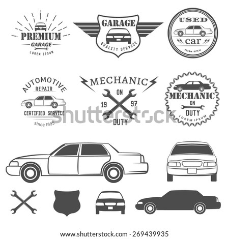 Car labels and icon - stock vector